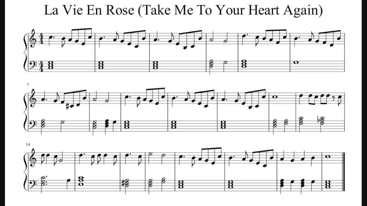 La Vie En Rose Easy Piano Sheet Music No Audio Youtube
