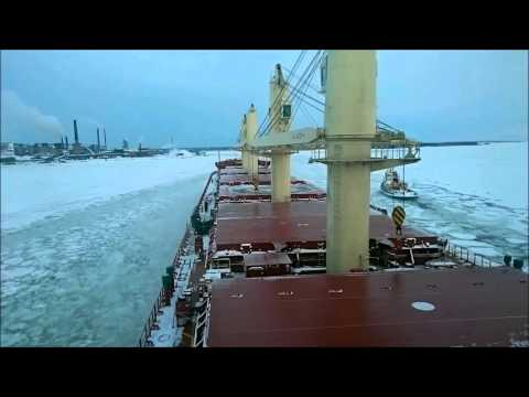 Time Lapse of Federal Biscay arriving at Ronnskar, Sweden with Ice Breaker assistance