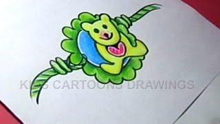 How to Make Handmade Teddy bear Rakhi Drawing for Kids Step by step
