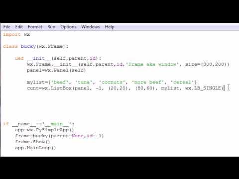 wxPython Programming Tutorial - 13 - List Boxes