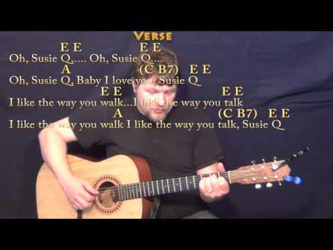 Suzie Q (CCR) Fingerstyle Guitar Cover Lesson with Chords/Lyrics