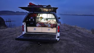 Solo Truck Camping Riverside - My First GIANT White Sturgeon
