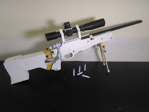 #2 How to make  L115A3 AWM Sniper Rifle that shoots paper bullets (Bolt Action Mechanics)