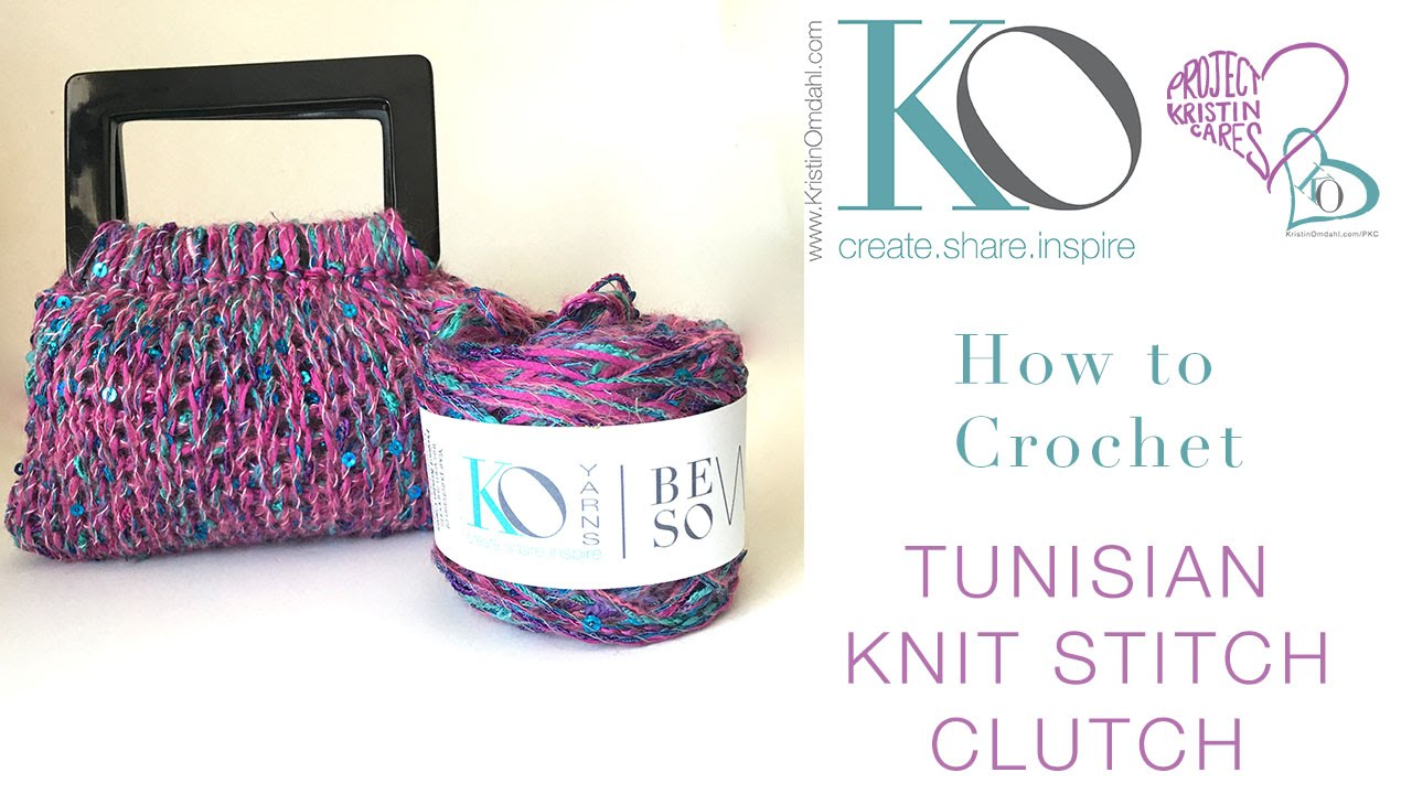 How To Crochet Sequin Tunisian Knit Stitch Clutch - YouTube