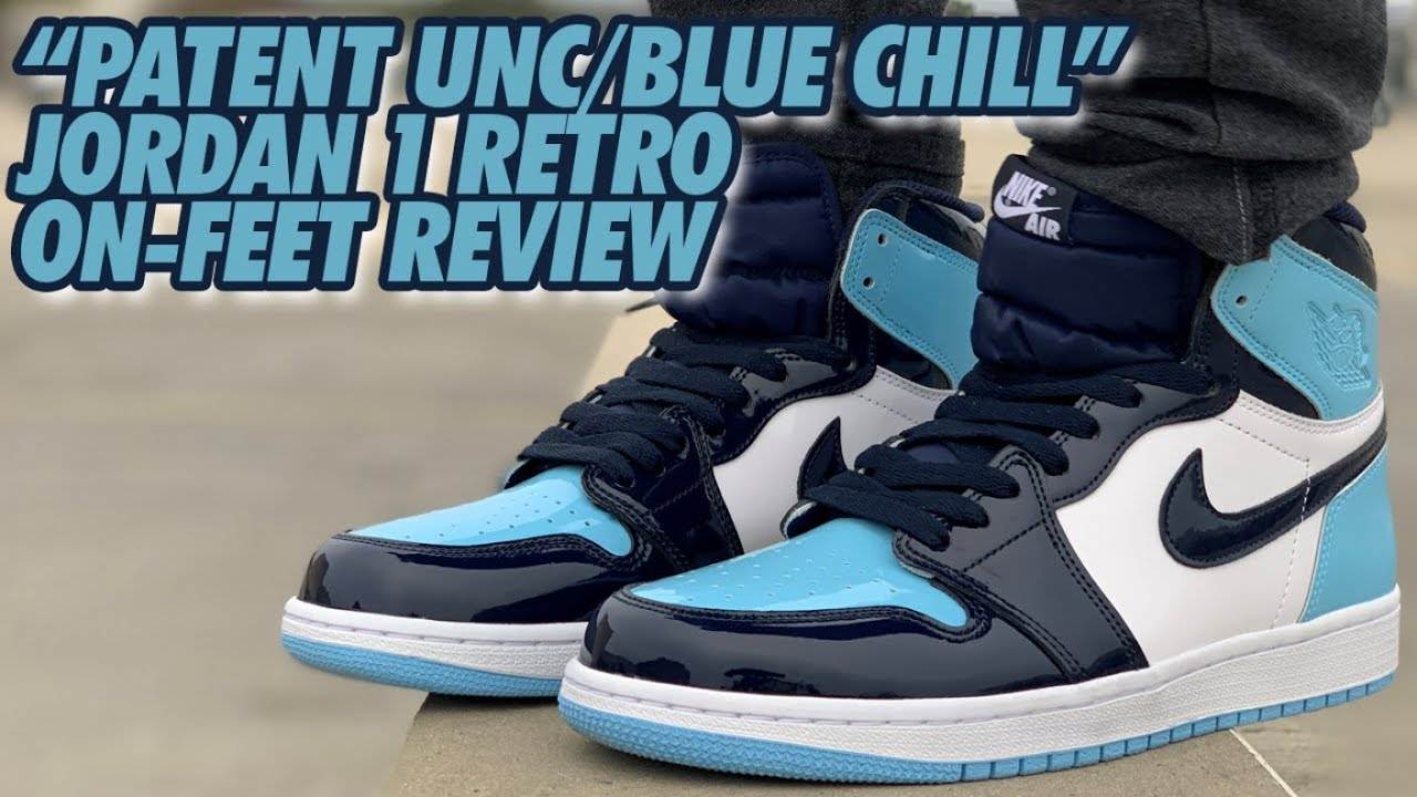3d2db6ce11165a BLUE CHILL x UNC PATENT LEATHER JORDAN 1 ON FEET REVIEW! - YouTube