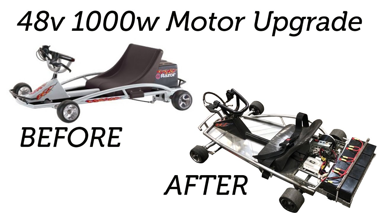 hight resolution of razor ground force go kart upgraded to 48v 1000w motor