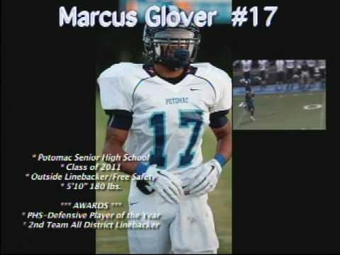 #17 Marcus Glover Outside Linebacker/Free Safety Class of  2011 Potomac High School