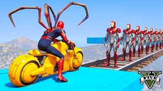 гта 5 Железный Человек паук уронить Железный человек с  Мотоцикл На Мосту - GTA 5 Ragdolls Jumps