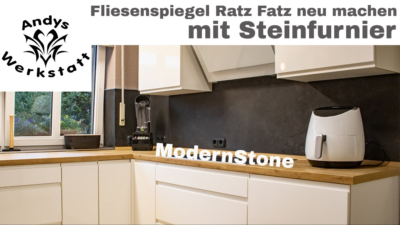 Wie geht das? Küche Fliesenspiegel schnell renovieren / erneuern mit  Steinfurnier - YouTube