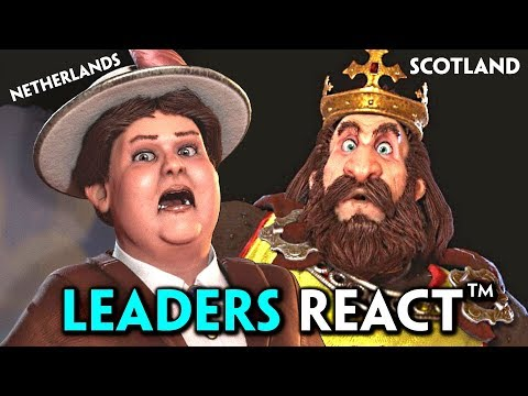Civilization 6: All Rise & Fall Leaders REACT to War, Declare War on You & Defeat Cutscenes |