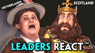 Civilization 6: All Rise & Fall Leaders REACT™ to War, Declare War on You & Defeat Cutscenes