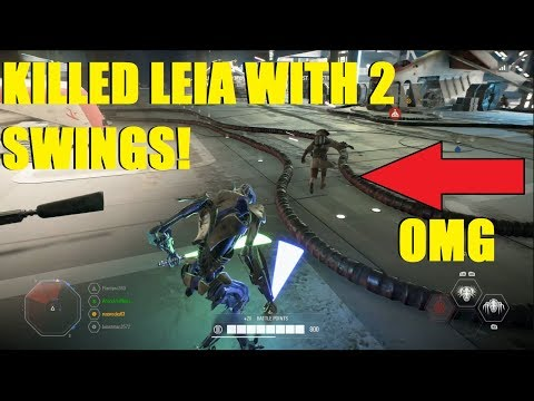 Star Wars Battlefront 2 - Grievous killed Leia with 2 swings! Darth Maul With a health on kill card! thumbnail