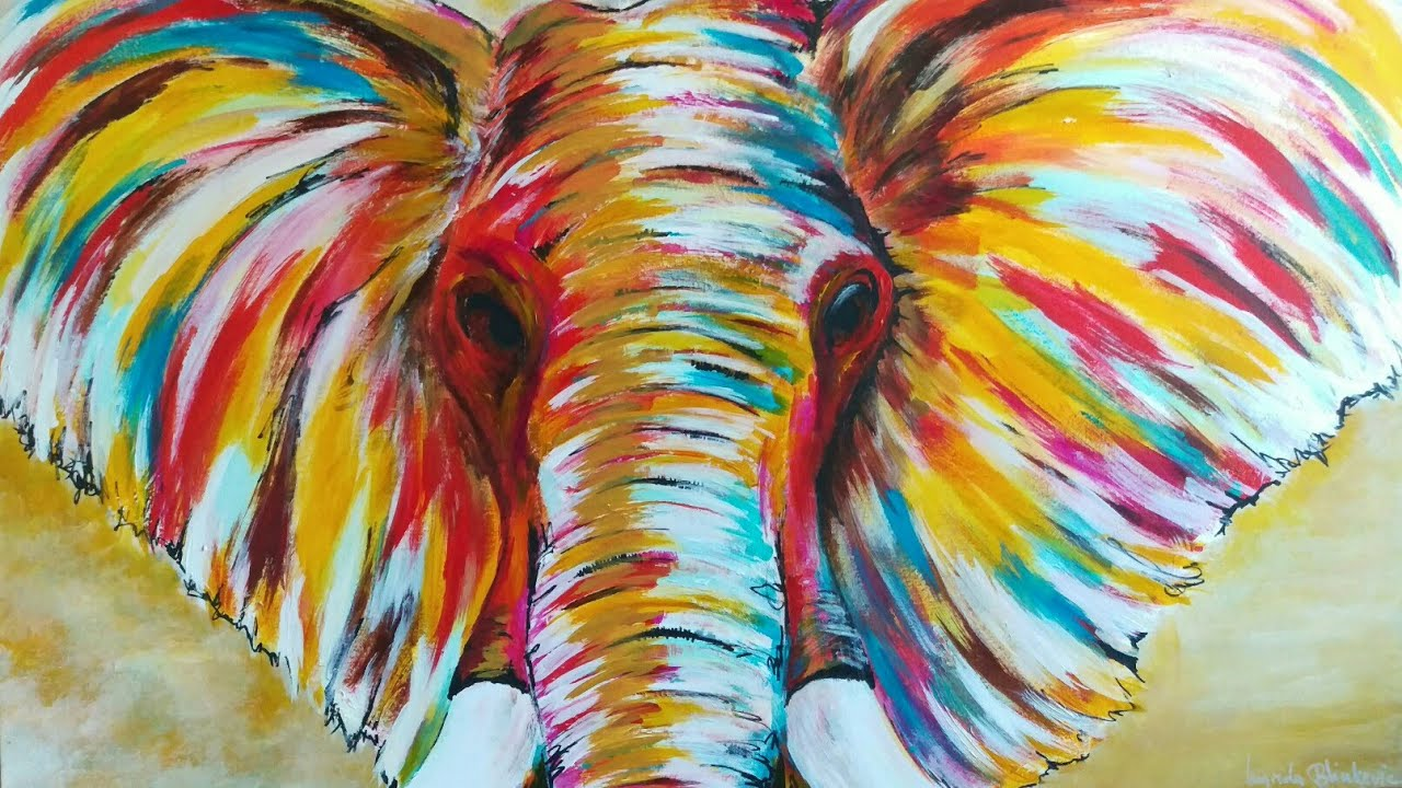 Colorful Elephant Art  Abstract Acrylic Painting