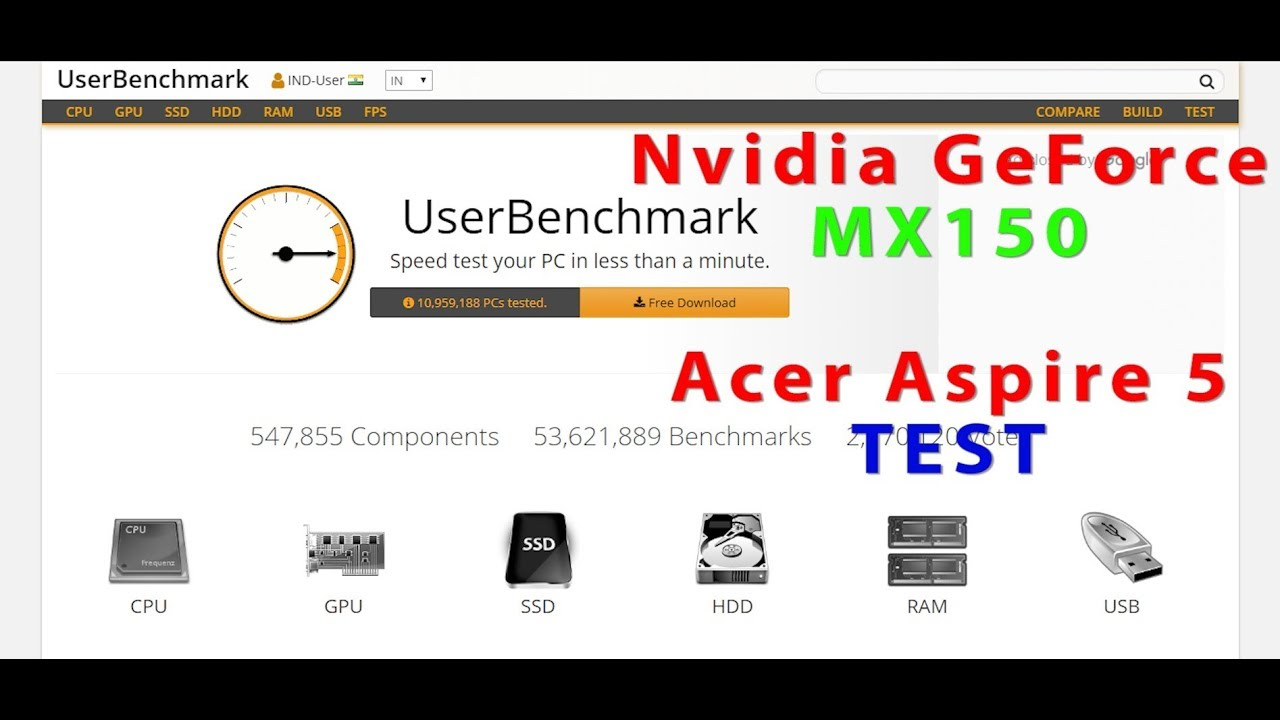 UserBenchMark | Acer Aspire 5| Nvidia GeForce MX150| PC Test | Budget  Gaming Laptop| Driver 411 63 |