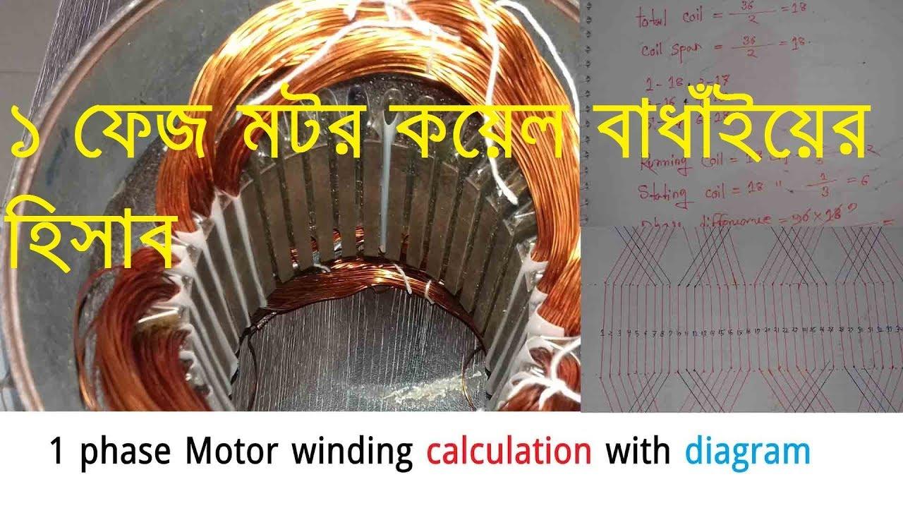 1phase motor winding calculation with diagram 36 slot 2 pole basket