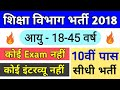 10th Pass Vacancy In Education Department // #10thPassGovernmentJob