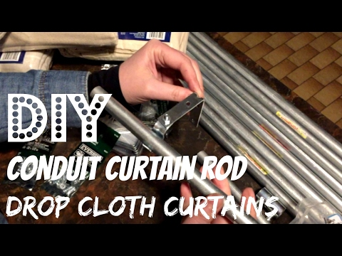 DIY Conduit Curtain Rod | No Sew Drop Cloth Curtains