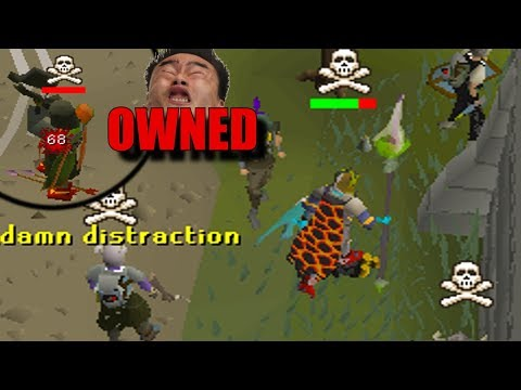 he was distracted... SO I ONE SHOT HIM (Infernal Cape & Dragon Claws) - Osrs Pking everywhere!