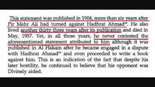 Pir Mehar Ali Shah thoughts about Hazrat Mirza Ghulam Ahmad of Qadian AS