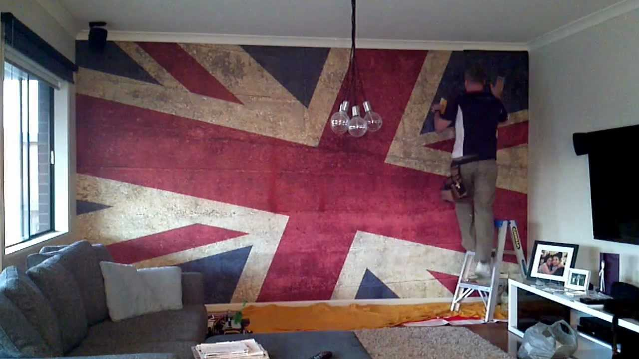 wallpaper mural installation grunge union jack youtube