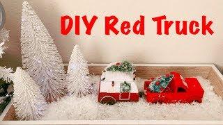 DIY Dollar Tree Red Truck | DIY Farmhouse Winter Decoration