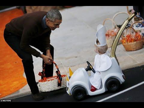 President Barack Obama & Michelle Obama (White House Halloween celebration)