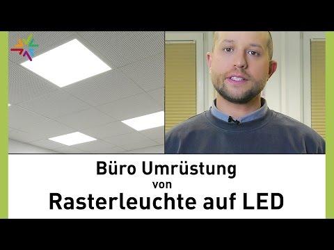 Umrüstung von Leuchtstoffröhren Rasterleuchte auf LED im Büro - TRILUX Siella LED