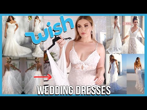 Trying on WISH APP Wedding Dresses! 👰 DISASTER?? thumbnail