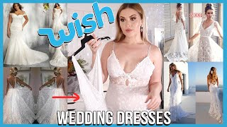 Trying on WISH APP Wedding Dresses! 👰 DISASTER??