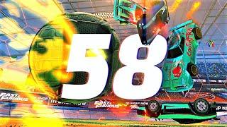 ROCKET LEAGUE INSANITY 58 ! (BEST GOALS, 4 MAN PINCH, CEILING 360 SHUFFLE FREESTYLES)