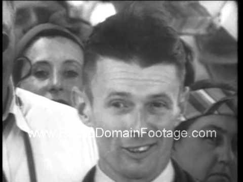 "1938 ""Wrong Way"" Douglas Corrigan explains accidental flight to Ireland archival footage"