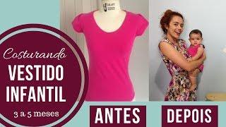 Vestido infantil usando uma blusa e retalhos Alana Santos Blogger