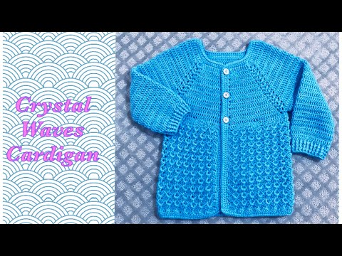 How To Crochet Girl's Sweater Cardigan 6-12 Yrs With Crystal Waves Stitch By Crochet For Baby #163