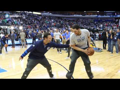 Watch Tony Romo warmup with the Dallas Mavericks