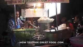 Bangkok Street Food Thailand - Noodle Soup Stink Beans - Wok