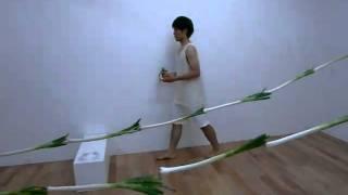 2010年7月 佐々木 諒 個展「ねぎぼうず」パフォーマンス @ギャラリィK(京橋) 約80本近くの長ネギを使ったインスタレーションとパフォーマンス.