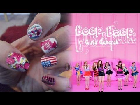SNSD Girls' Generation - Beep Beep 少女時代 MV inspired nail art