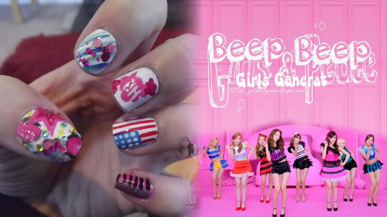 Snsd girls generation beep beep mv inspired nail art snsd girls generation beep beep mv inspired nail art youtube prinsesfo Image collections