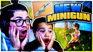 *NEW* MINIGUN IS UNSTOPPABLE! 9 YEAR OLD BROTHER PLAYS SQUAD! FORTNITE BATTLE ROYALE! WE REALLY WON!