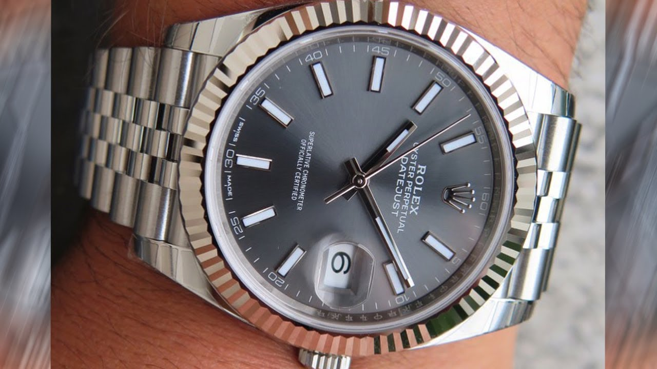 64b6fe55f2b A brand new Rolex Datejust 126334 Dark Rhodium Dial 41 mm steel and white  gold luxury watch on wrist
