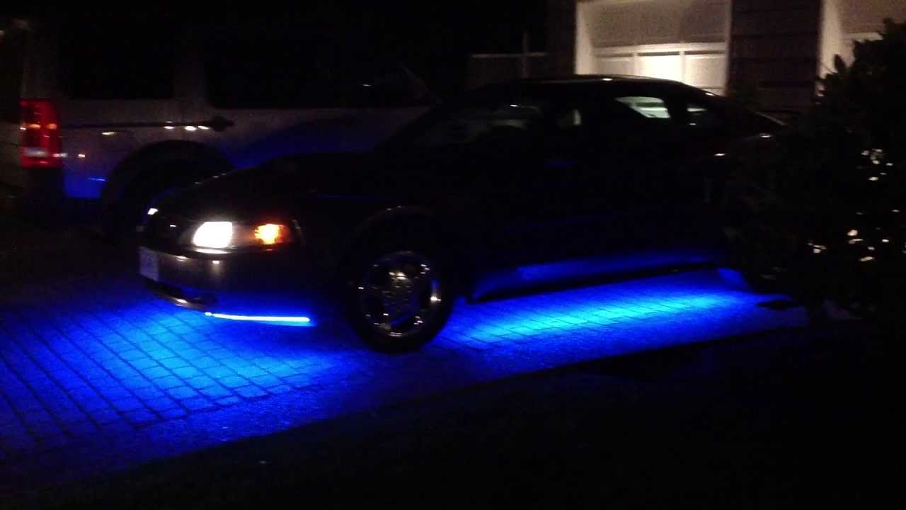 Blue Led Strip Lights Under Ford Mustang Youtube