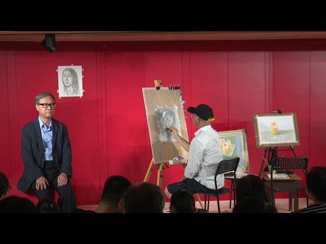 Painting demonstration by Poon Yeuk Fai and Tsui Yuen