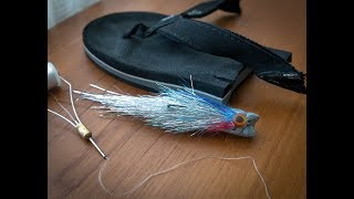 Old sandal made into a popper fly