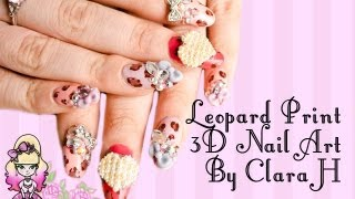 3D Japanese Nail Art Pastel Leopard Print and Bows By Clara H Nails - Violet LeBeaux
