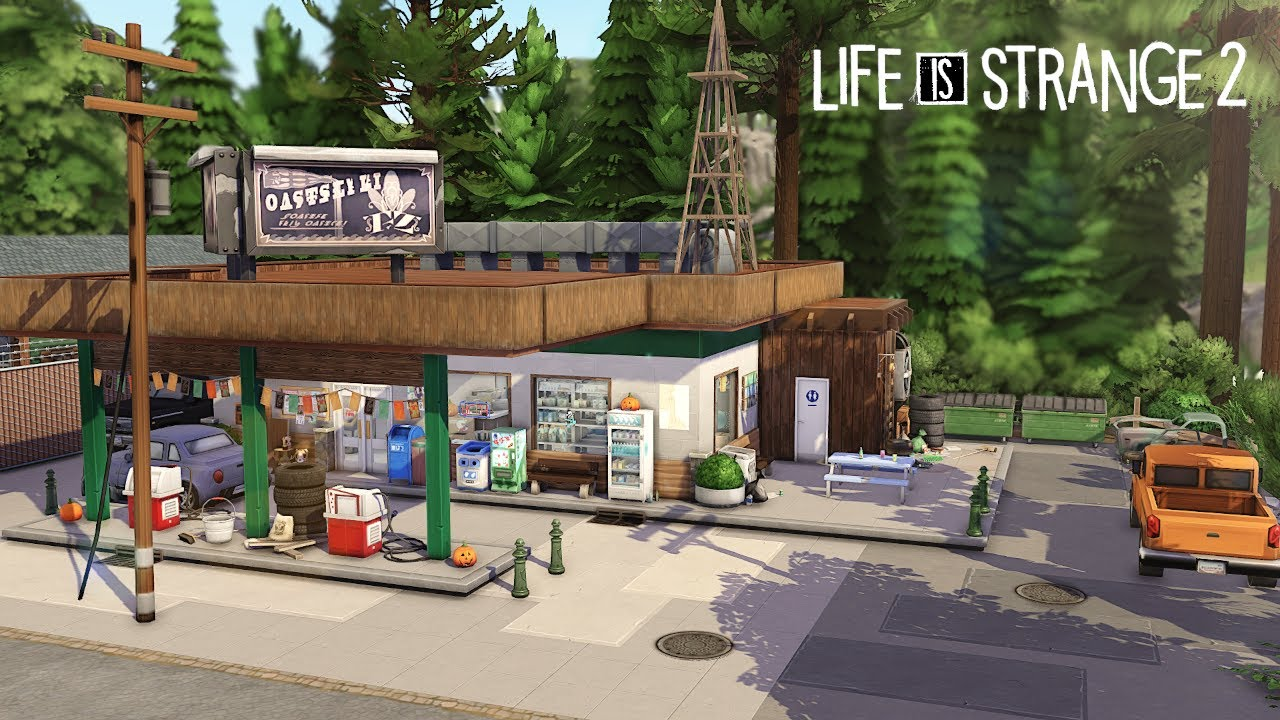 Gas Station - LiS 2 Bear Station 🐻 | THE SIMS 4 - Speed Build (NO CC)