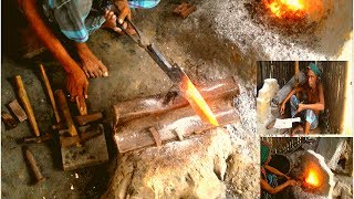 Blacksmithing A Machete Making / Forging a Machete in a Traditional Way by a Bangladeshi Blacksmith