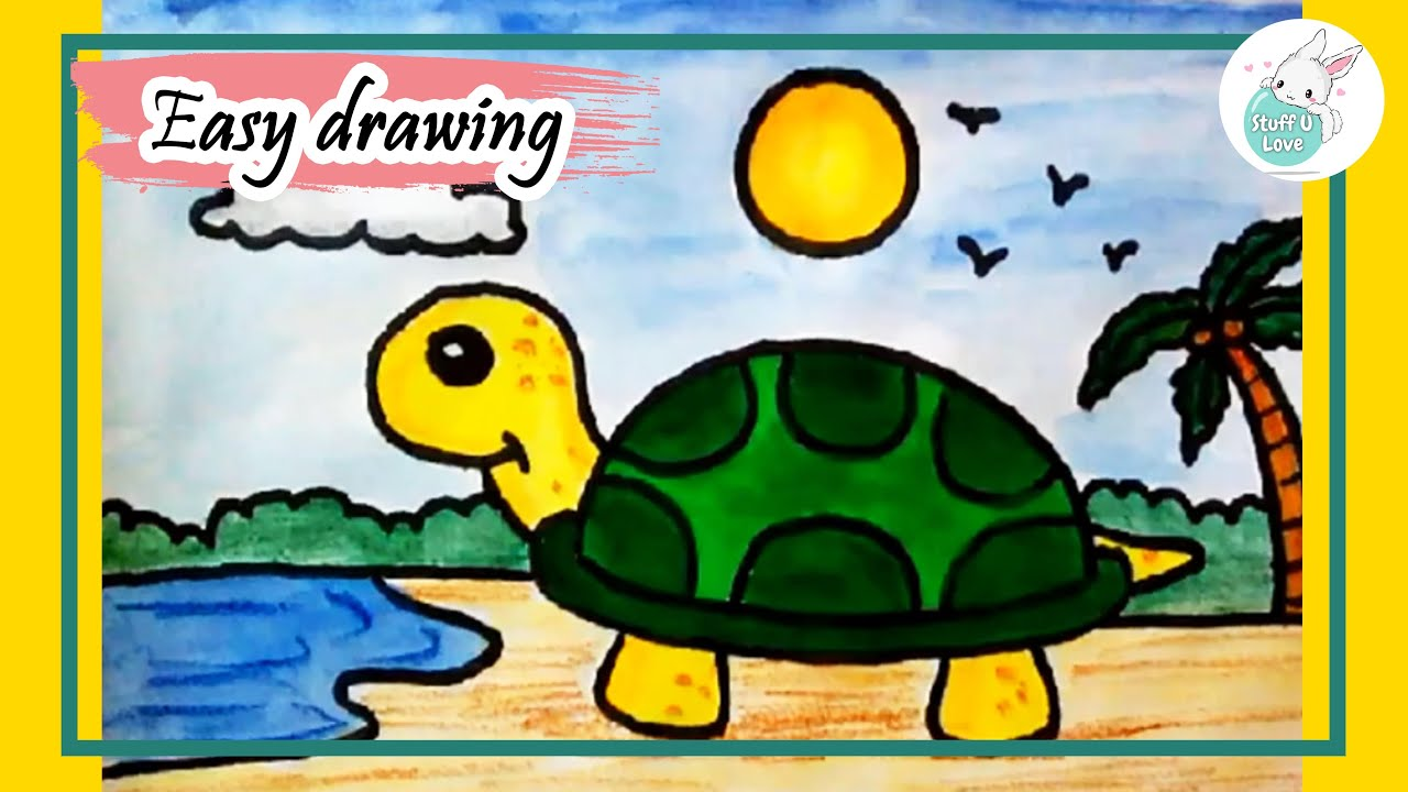 easy cute cartoon turtle drawing step by step tutorial for kids