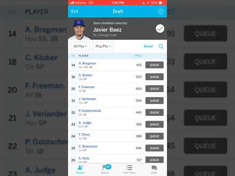 Full fantasy baseball draft 10 team snake draft head to head