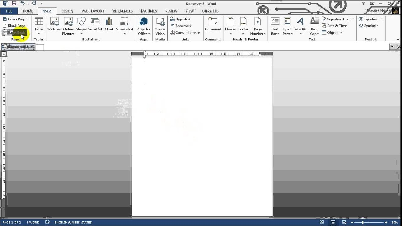 how to create new page in word