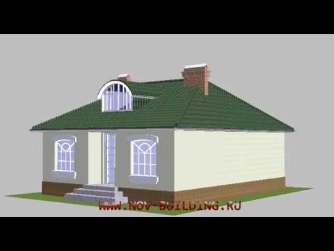 3D видео проект - частный одноэтажный дом 92 м2